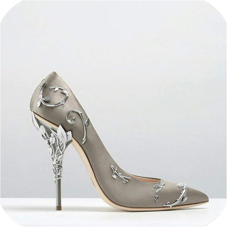 Sakuraii Dun Women Pumps Pointed Toe Flower Heel Wedding shoes Elegant Silk High Heels