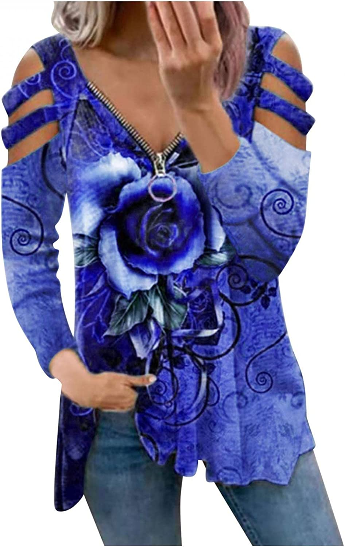 POLLYANNA KEONG Crewneck Sweatshirts Y2K,Womens Casual Zipper Front Long Sleeve V Neck Cutout Cold Shoulder Blouses