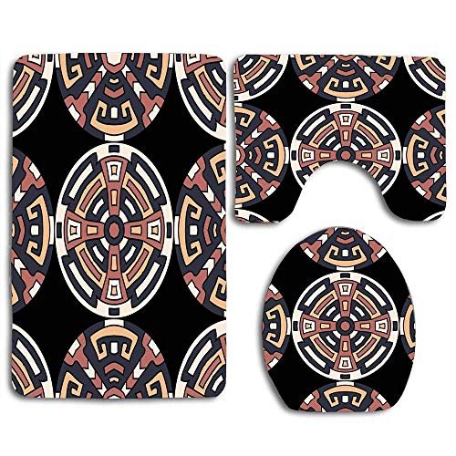 Patrón Semless africano Indio Colorido Norte de Perú Vintage Resumen Trible Negro Círculo caprichoso Alfombra de baño Alfombrilla Juego de 3 piezas, antideslizante Tapa del asiento del inodoro Alfombr