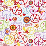 Karnevalsstoff Hippie Muster Love & Peace – weiss —