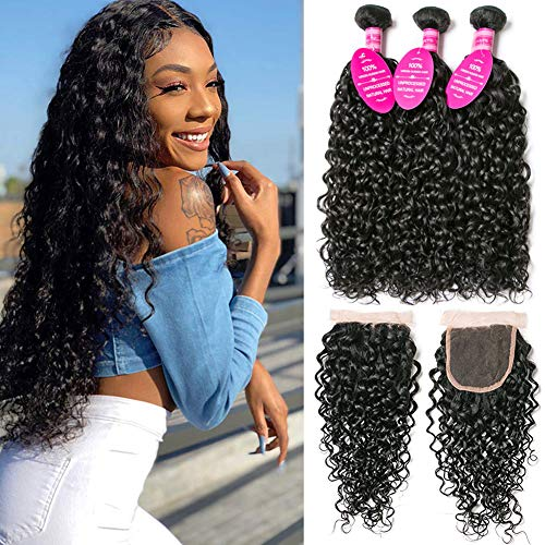 Younsolo Hair Bundles with Closure Water Wave (8 10 12+8) 8A Unprocessed 150% Density Brazilian Virgin Remy Human Hair Free Part Natural Color Water Curly Hair for Black Women 4X4 Lace with Baby Hair
