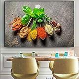 ganlanshu Pintura sin Marco Granos y Especias Cuchara Verde Planta Cocina Carteles e Impresiones Arte de la Pared CanvasCGQ7204 50X75cm