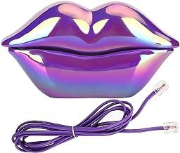 $27 » CHENJIEUS Lips Landline Telephone, Purple Lips Telephone Electroplate Desktop Landline Phone, Cute Lip Shape Telephone for...