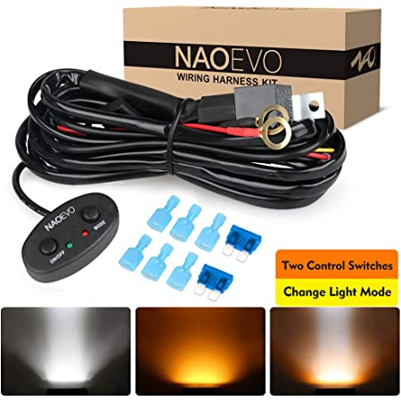 NAOEVO Wiring Harness 10FT, Specially Customized for NAOEVO 6 Modes LED Light Bar, 12V 40A Relay for Switching Between Different Modes -2 Lead