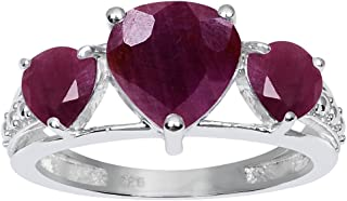 2.37 Ct Heart Red Ruby, Yellow Citrine, Purple Amethyst 3 Stone 925 Sterling Silver Ring For Women By Orchid Jewelry