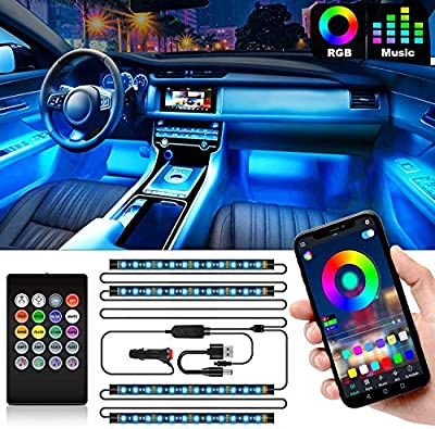 Interior Car Lights, Car Led Strip Lights Interior with APP and IR Remote, Upgrade 2-in-1 4pcs Waterproof RGB 48 LEDs Music Car LED Lights Under Dash Lighting Kit with Car Charger DC 12V