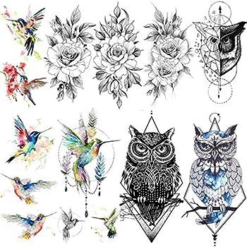 VANTATY 9 Sheets Watercolor Hummingbird Fake Temporary Tattoos For Women Girls Hummer Birds Geometric Owl Waterproof Tattoo Stickers Black Rose Flower Tatoos Peony Girls Geometry Body Arm Art.