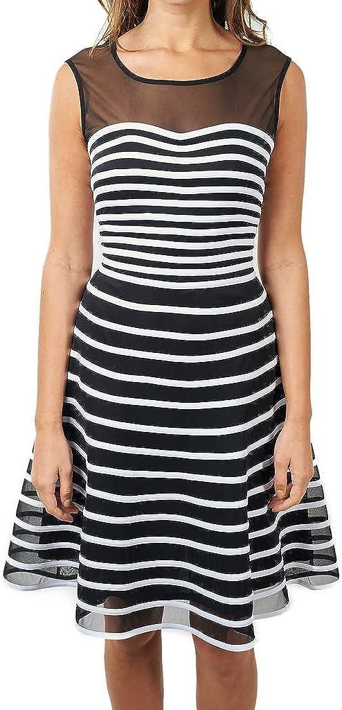 Joseph Ribkoff Semi-Sheer Black with White Stripes Flared Dress Style 171160