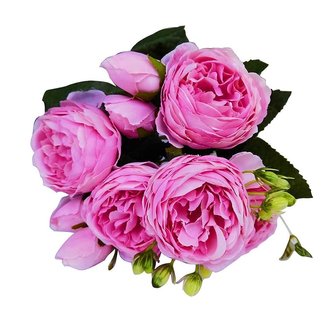 協同場合争いruisuered装飾植物結婚式人工観葉植物1ピース造花ローズホームステージブライダルウェディングアレンジメントパーティーDIYの装飾 - ローズレッド