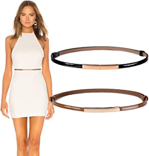 Women's Skinny Patent Leather Belt Adjustable Slim Waist Belt with Gold Buckle for Dress Fit 24-40Inch