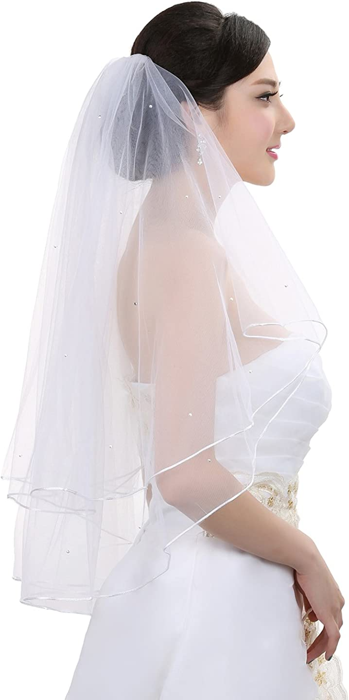 2T 2 Tier Rattail Scattered Wedding Crystal Ranking TOP7 mart Rhinestone Bridal Ve