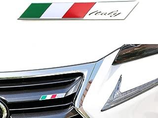 iJDMTOY Aluminum Plate Italian Flag Emblem Badge For Italian Car Front Grille, Side Fenders, Trunk, Dashboard Steering Wheel, etc