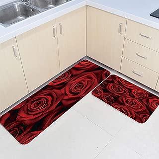Prime Leader 2 Piece Non-Slip Kitchen Mat Runner Rug Set Doormat Dark Red Rose Flower Door Mats Rubber Backing Carpet Indoor Floor Mat(15.7