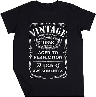 Vintage Limited 1958 Edition - 60th Birthday Gift Niño Niña Unisexo Negro Camiseta Manga Corta Kids Black T-Shirt