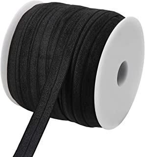 Teemico 50 Yards Elastic Foldover Ribbon Stretch Elastic Band Spool Roll for DIY Baby Girls Hair Bow Ties Headbands Decor,15 mm,5/8 inch Width