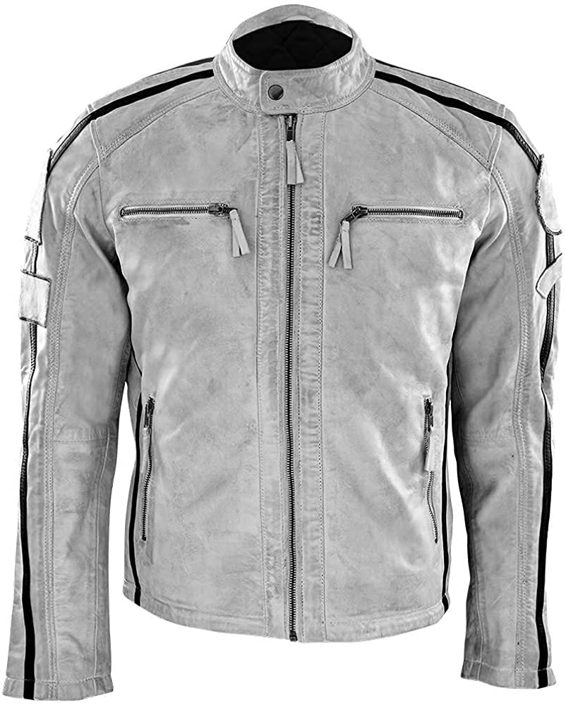 Genuine Leather Jacket Men Motorcycle Sheep Skin Casual, Zipper Race Biker Jacket