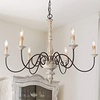 """LALUZ French Country Chandelier White Distressed Wood Hanging Light Fixtures Living Room, 28""""H x 37""""L, 6 Sources"""