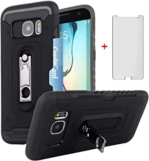 Asuwish Phone Case for Samsung Galaxy S7 with Tempered Glass Screen Protector Cover Credit Card Holder Wallet Stand Kickstand Slim Protective Cell Accessories Glaxay S 7 7s GS7 SM-G930V G930A Women