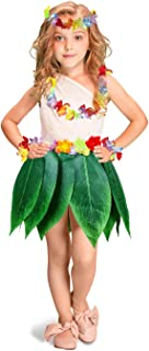 Gooidea Kids Ti Leaf Hula Skirt with Hibiscus Flower Leis 5pcs Pack Luau Party Supplies Girls Hawaiian Costume Set Party Favors Decorations