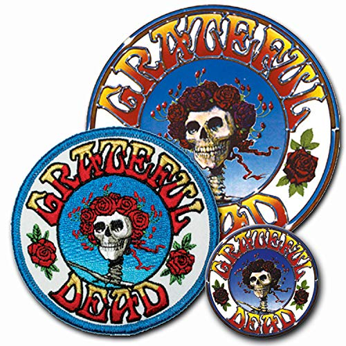 C&D Visionary Band 3 Piece Grateful Dead Sticker, Patch, Button Set, Blue, Red