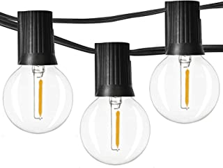 Newpow Outdoor String Lights 100ft with 50+2 Spare Dimmable Shatterproof Waterproof LED G40 Globe Bulbs - Clear Plastic, 1...