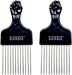 "Luxxii (2 Pack) 6.75"" Black Fist Metal Afro Pik Lift Hair Comb Detangle Wig Braid Hair Man Styling Comb"