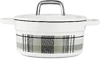 Martha Stewart Collector's Enameled Cast Iron Dutch Oven, 2 QT (1.89 L) Round Casserole (White/Grey Plaid)