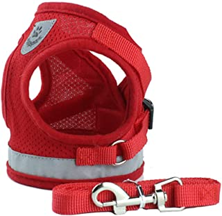BLEVET Pet Vest Harness Adjustable Lead Chest Walking Leash for Dog Cat AU-PS041 (XS, Red)