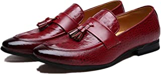 Men pu Leather Tassel Loafers Light, Soft, Tough, (Color : Red, Size : 41)