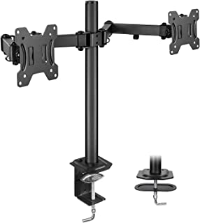 """HUANUO Dual Monitor Stand Mount, Fully Adjustable LCD Monitor Desk Mount Fits 13"""" to 27"""" Computer Screens, VESA 75 100, Each Arm Holds up to 17.6lbs"""