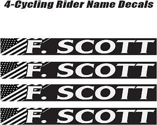4 piece Custom Bicycle Frame Name Black and White USA Decal Sticker Set - Bike Name Decal Set