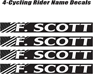 4 piece Custom Bicycle Frame Name Black and White USA Decal Sticker Set - Bike Name Decal Set