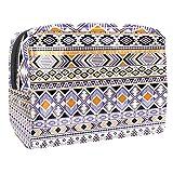 Bolsa de maquillaje portátil con cremallera, bolsa de aseo de viaje para mujer, práctica bolsa de cosméticos gitanos tribales étnicos geométricos