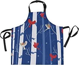 AHOMY Adjustable Apron with Pocket Red Bird Robin The Winter Forest Extra Long Ties, 27.5 x 29