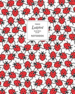 Ladybird Notebook - Ruled Pages - 8x10 - Premium: (White Edition) Fun notebook 192 ruled/lined pages (8x10 inches / 20.3x2...