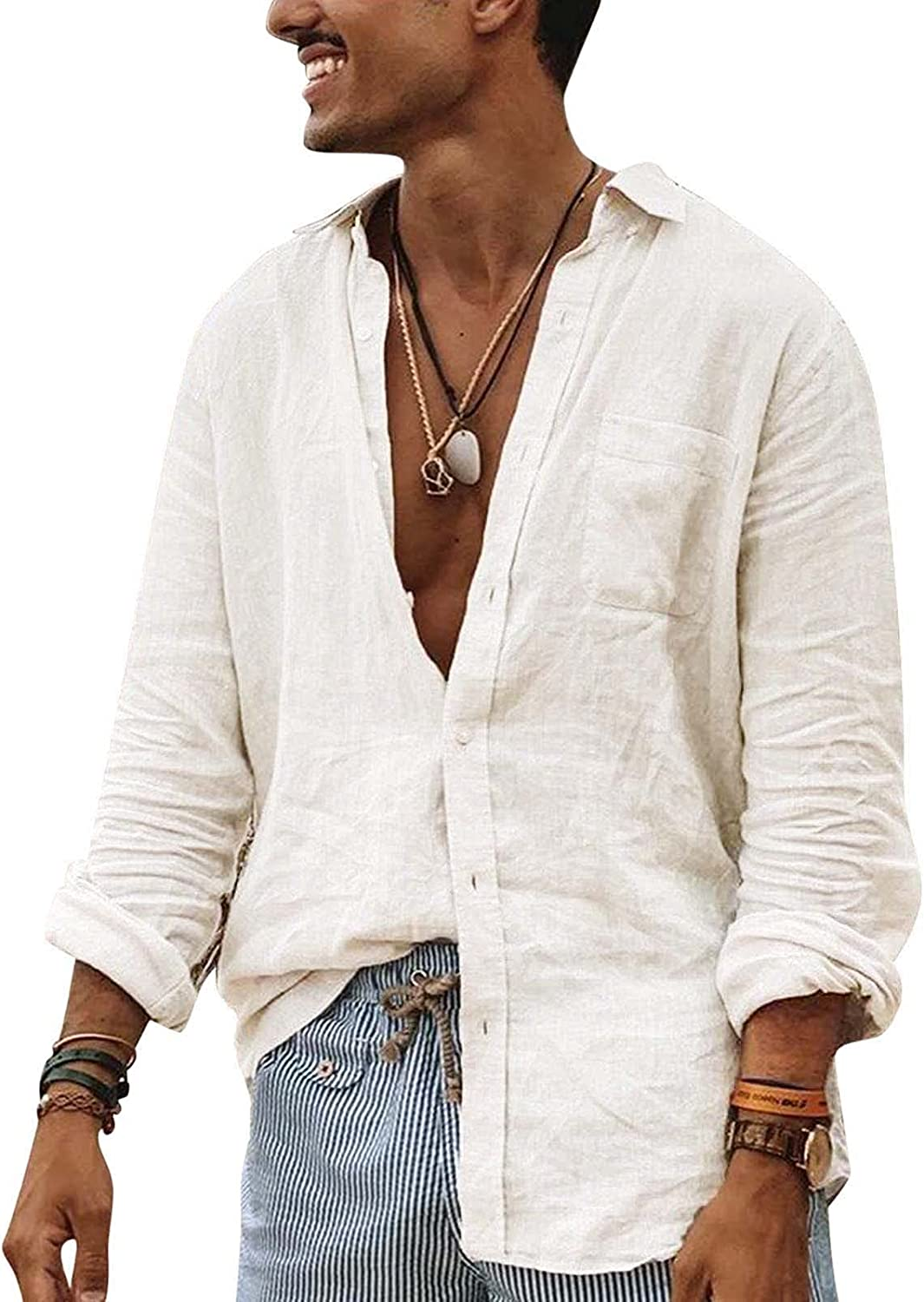 Men's Long Sleeve Baggy Linen Henley Shirts Fashion Casual V Neck Button Down Hippie T Shirts Beach Tops Big and Tall