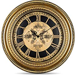 Bernhard Products Extra Large Decorative Wall Clock 20 Inch Silent Non Ticking Vintage Gold Antique Style Battery Operated Quartz, Roman Numerals for Home Living Dining Room & Over Fireplace