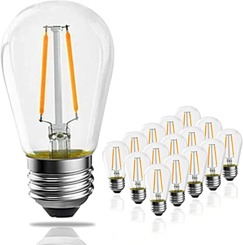Banord 15 Pack Dimmable 2W S14 Replacement LED Bulbs 2700K Warm White Waterproof Outdoor String Lights Vintage LED Filament Bulb Shatterproof E26 Screw Base Edison LED Light Bulbs