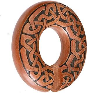 CHICNET - Piercing dilatatore per orecchio, unisex, in legno di narico, marrone, forma ad anello, con nodo celtico, dimens...