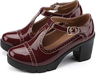 Ezkrwxn Women's Classic T-Strap Platform Mid-Heel Square Toe Oxfords Dress Shoes