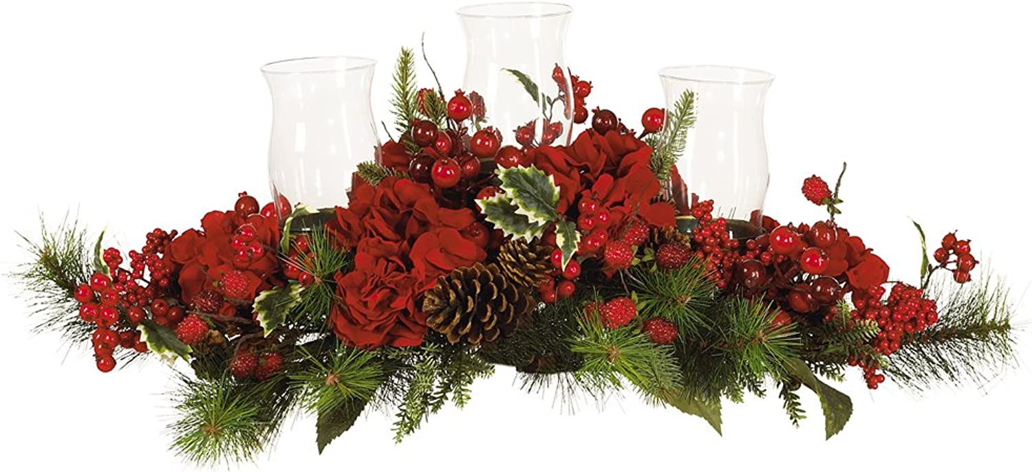 Nearly Natural 4659 Hydrangea Holiday Candleabrum, Red Green