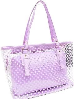 Women's 2 in 1 Dots Clear Handbag Purse Tote Summer Beach Shoulder Sling Bag
