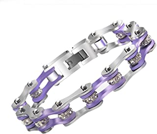QIQIAO Womens 316 Stainless Steel Bike Chain Cuff Bead Bracelet Bicycle Wristband Link Jewelry