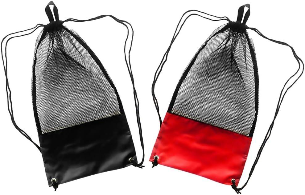 Fancyes 2X Black Now on Regular discount sale Red Scuba Diving Gear Mesh Bag Drawstring Fins