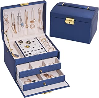 Jewellery Box Portable Travel PU Leather Organiser with Necklace Hangers 3 Layer Drawer Large Capacity Jewelry Storage Box...