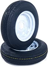 2-Pack Trailer Tubeless Tires On White Rims 530-12 5.30-12 5.30 x 12 Load C 4 Lug 6PR Tire Mounted (4x4) bolt circle P811