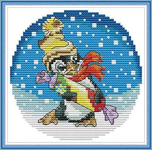 Kit de punto de cruz con estampado, patrón impreso de pingüino OWN4B de 11 quilates de 8.3 x 7.9 pulgadas de kit de bordado (pingüino)