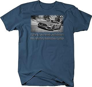 Bold Imprints Retro Life is Too Short to Drive Boring Cars Mercedes Benz T Shirt for Men