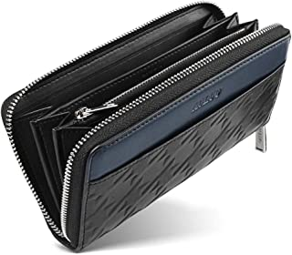 財布 メンズ 長財布 本革 YKK製 ラウンドファスナー 大容量 カード入れ 小銭入れ サイフ ロングウォレット千鳥格子押す型