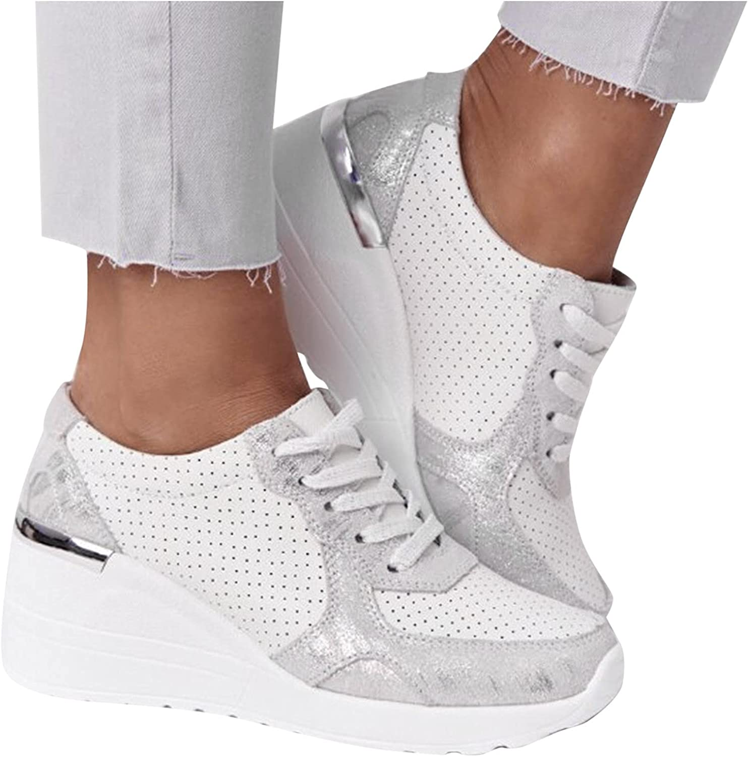 Niceast Sneakers for Women,Womens Hollow Wedge Shoes Breathable Fashion Slip on Walking Shoes